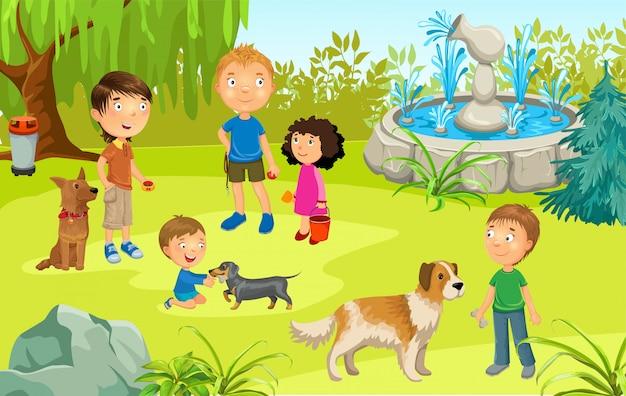 Les propriétaires d'illustrations de dessin animé forment des chiens dans le parc.