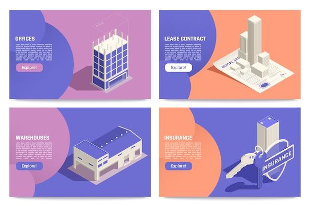 Propriété immobilière commerciale en ligne 4 écrans de tablette isométriques avec illustration d'assurance de contrat de location d'entrepôt de bureaux