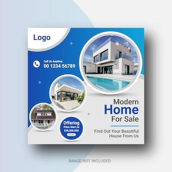 Propriété de maison de publication de médias sociaux immobiliers publication instagram ou conception de bannière web carrée