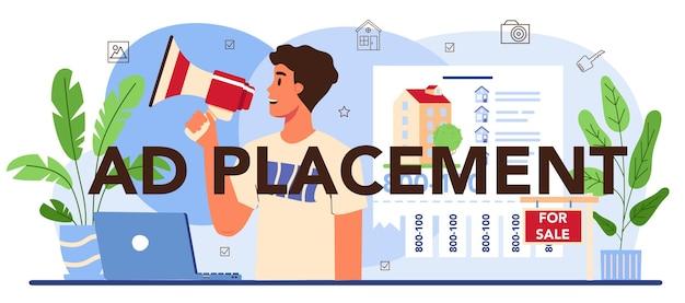 Propriété d'en-tête typographique de placement d'annonce vendant un appartement publicitaire