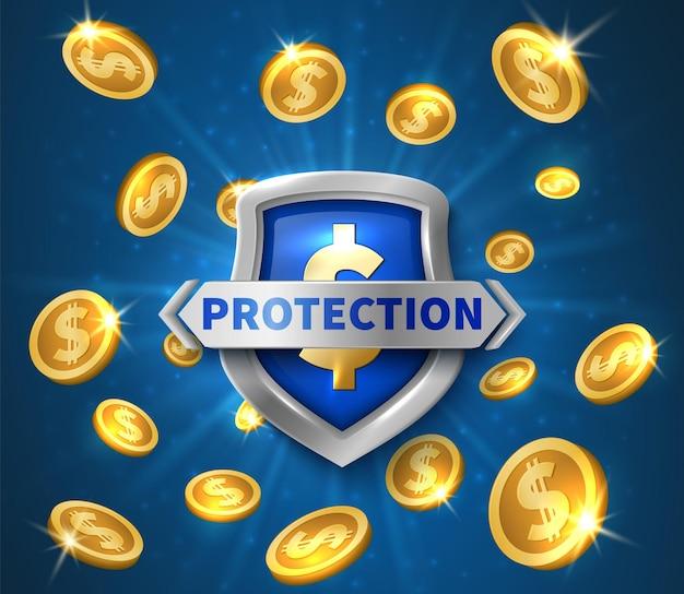 Protection de l'argent. bouclier réaliste, illustration vectorielle de pièces d'or volantes. bouclier de défense, protection financière d'or