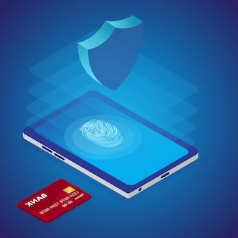 Protection de la carte de crédit dans le concept de téléphone intelligent