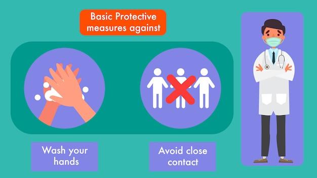 Protection contre les coronavirus informations importantes et conseils pour rester en bonne santé. et des personnages d'illustration.