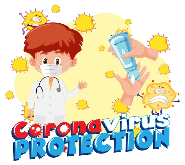 Protection contre le coronavirus avec personnage de dessin animé pour enfants