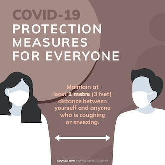 La protection contre le covid-19 mesure le message de sensibilisation au coronavirus