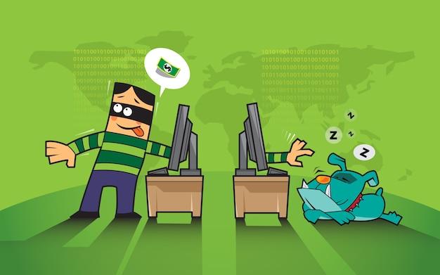 Protection contre le piratage sur le concept internet.