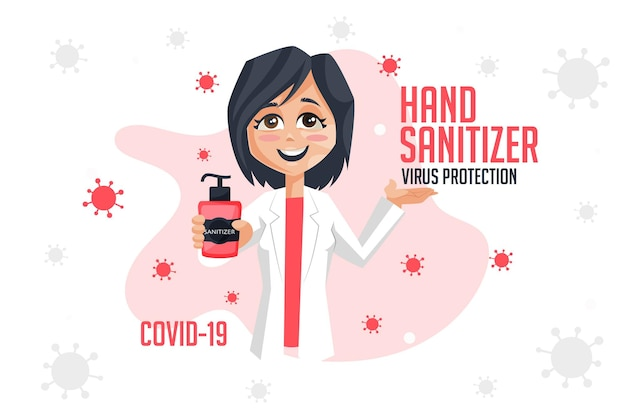 Protection contre les virus désinfectant pour les mains conception de bannière covid19