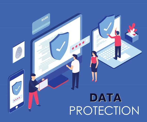 Protection des données concept isométrique
