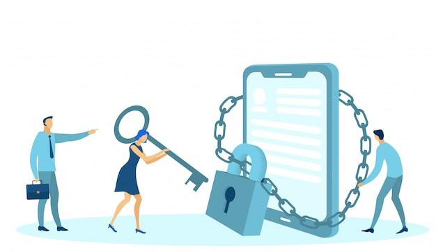 Protection des données, médias sociaux, gadget de téléphone verrouillé.