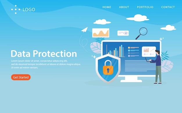 Protection des données, modèle de site web, en couches, facile à modifier et à personnaliser, concept d'illustration