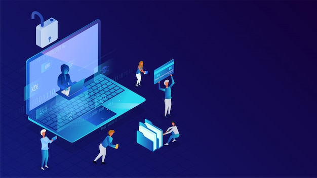 Protection des données ou sécurité, gens d'affaires travaillant et pirate essayant de pirater les données d'un ordinateur portable pour le concept de piratage.