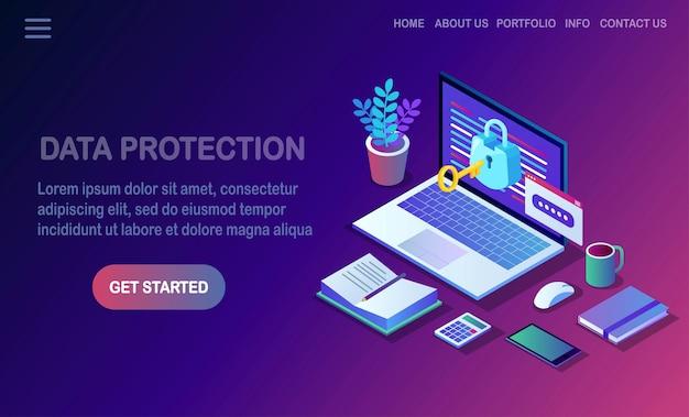 Protection des données. sécurité internet, accès privé avec mot de passe. ordinateur pc isométrique avec clé, serrure.