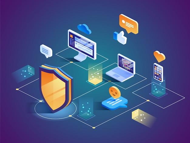 Protection des données de sécurité isométrique