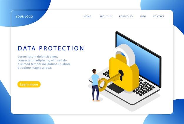 Protection des données. sécurité. sécurité informatique. page de destination. pages web modernes pour sites web.
