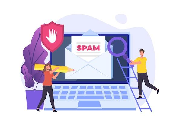 Protection des e-mails, anti-malware, concept anti-spam. illustration vectorielle plane