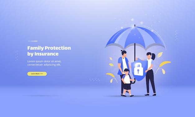 Protection de la famille avec assurance-vie sur le concept d'illustration