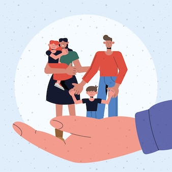 Protection de la famille de la mère père fille et fils sur la conception de la main, thème de la sécurité et des soins de santé d'assurance