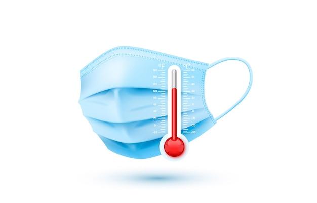 Protection de masque médical contre le virus, objet de thermomètre de médecine.