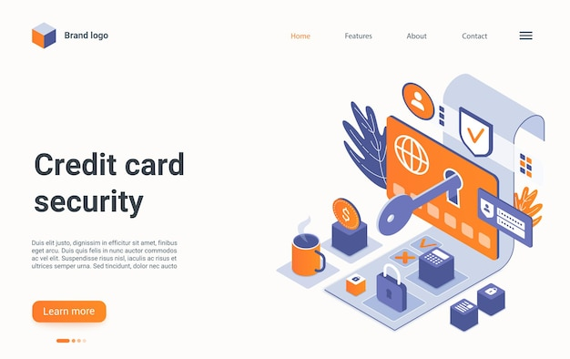 Protection des paiements en ligne de la page de destination de vecteur de sécurité de carte de crédit bancaire isométrique