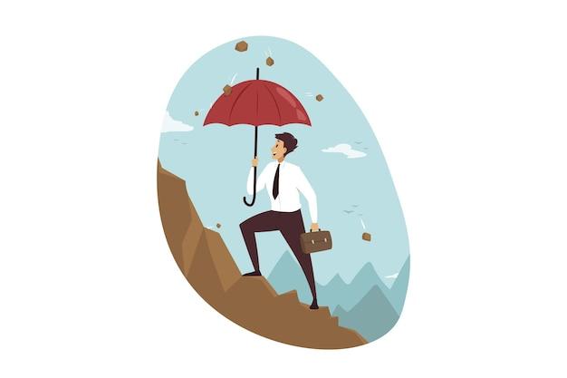 Protection, réalisation des objectifs, succès, affaires.