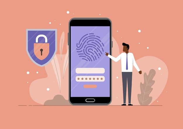 Protection de sécurité d'empreinte digitale mobile, signe d'application de smartphone de sécurité, icône plate de bouclier d'écran, concept de technologie de garde de protection de téléphone mobile