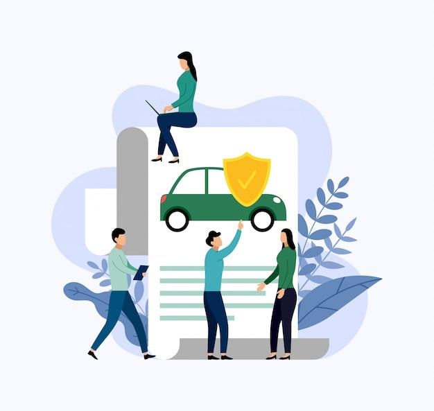 Protection de voiture, illustration de concept d'entreprise