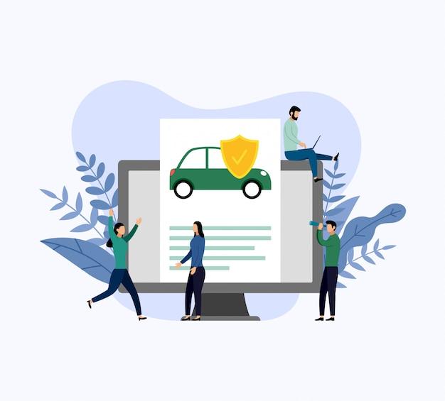Protection de la voiture, illustration vectorielle de concept entreprise