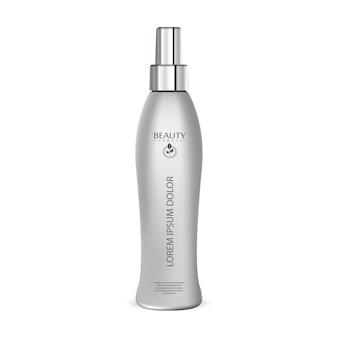 Protège-cheveux spray maquette de bouteille cosmétique.