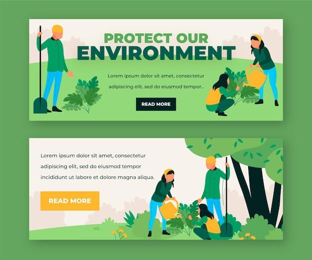 Protéger notre environnement bannières de médias sociaux