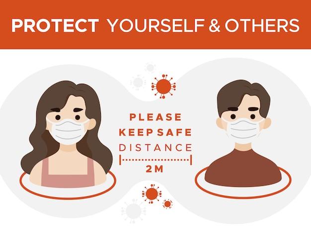 Protégez-vous et les autres, gardez le signe de distance de sécurité