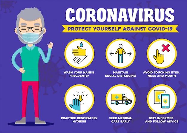 Protégez-vous contre le coronavirus. conseils de précaution covid-19. infographie d'isolement social. 2019-ncov mesures de protection.