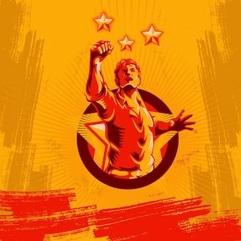 Protest fist retro revolution badge