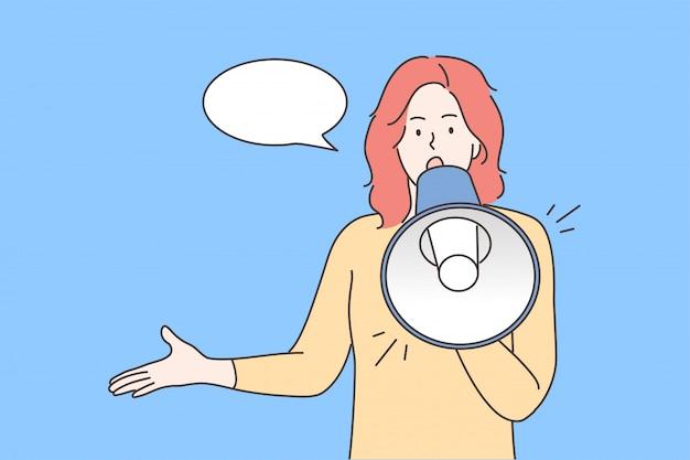 Protestation, activisme, annonce, discours, concept de promotion