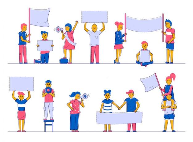 Protester contre la foule de démonstration tenant des mégaphones, des drapeaux et des pancartes collection d'illustration de ligne isolée plate.
