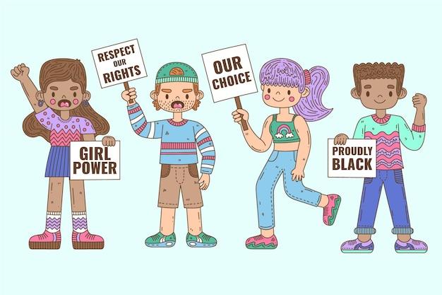 Protester Contre Les Gens Vecteur gratuit