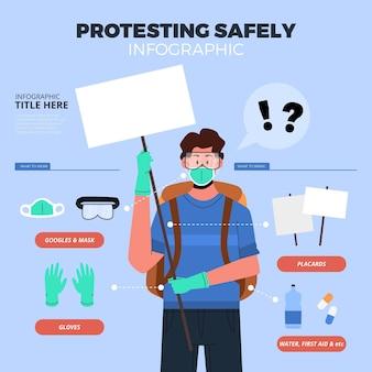 Protester en toute sécurité - concept infographique