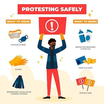 Protester en toute sécurité infographique