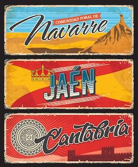 Provinces espagnoles de navarre, jaen et cantabri