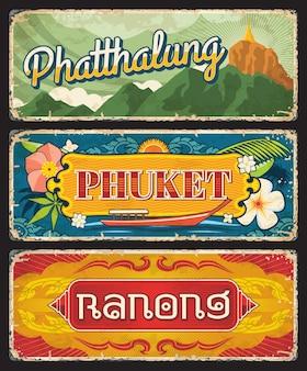Provinces de phuket, ranong et phatthalug thaïlande