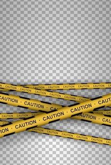 Prudence, danger, avertissement, attention, bandes de police, signe, ligne. ligne noire et jaune rayée.