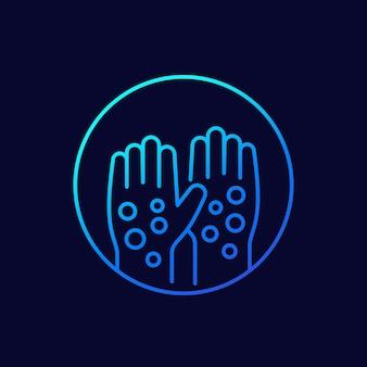 Psoriasis, icône de vecteur de ligne éruption cutanée