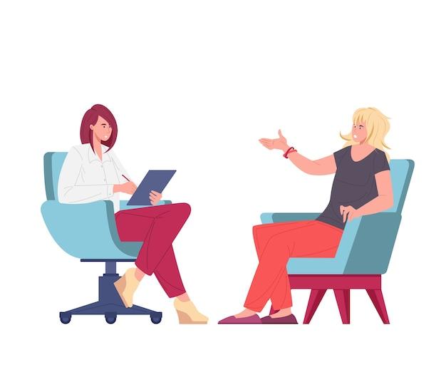 Psychanalyste ou psychothérapeute assis dans des fauteuils face à face et parlant