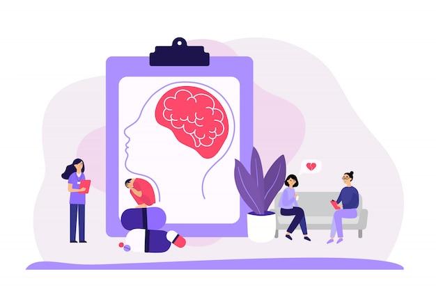 Psychiatre conseillant les patients sans visage