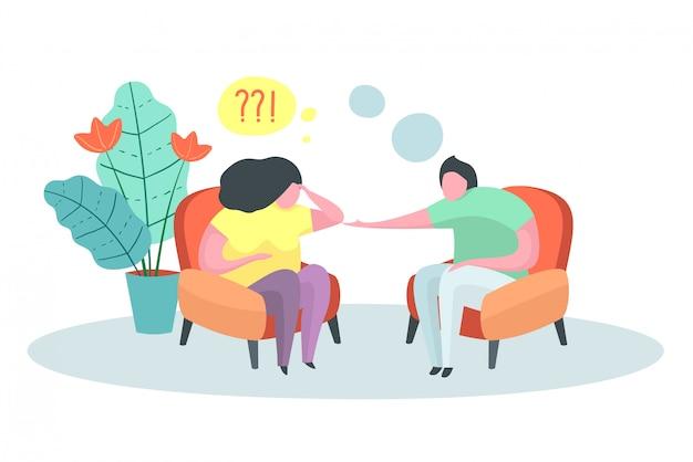 Psychothérapie conseil médecin psychologue cas patient de bureau.