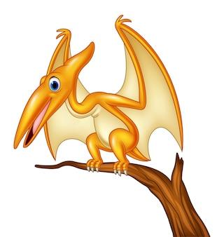 Ptérodactyle de dessin animé sur une branche