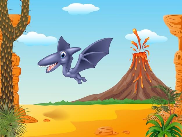 Ptérodactyle mignon volant avec fond préhistorique