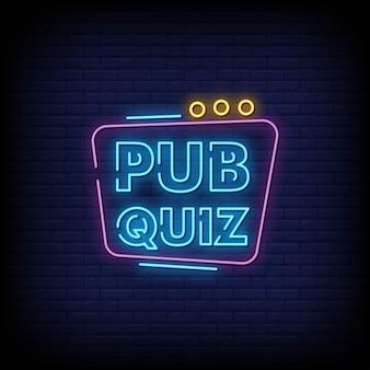 Pub quiz neon signs style texte vecteur