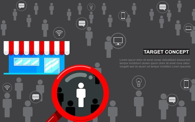 Public cible, cible client. loupe, magasin design plat, icône affaires