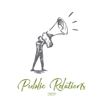 Public, publicité, communication, pr, concept médiatique. gestionnaire de pr dessiné main avec croquis de concept de mégaphone.