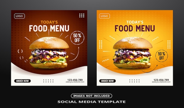 Publication de bannière sur les réseaux sociaux alimentaires